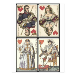 Naipes del vintage - reyes y Queens de corazones Postal