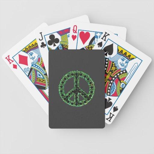 Naipes dentados verdes de la paz baraja de cartas