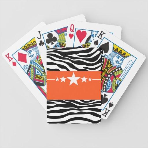Naipes descarados anaranjados de la cebra de la es barajas de cartas