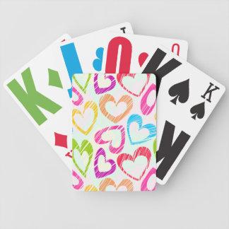 Naipes dibujados mano dulce de los corazones cartas de juego