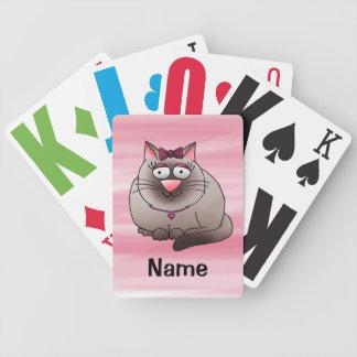 Naipes, dibujo animado gordo lindo del gato del ga barajas de cartas