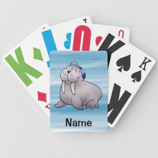 Naipes, dibujo animado lindo de la morsa baraja cartas de poker