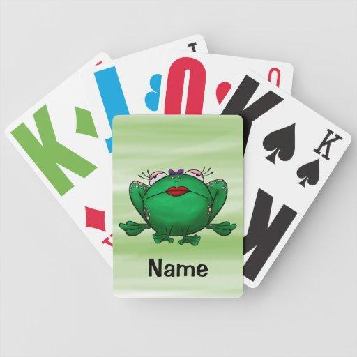 Naipes, dibujo animado lindo de la rana cartas de juego