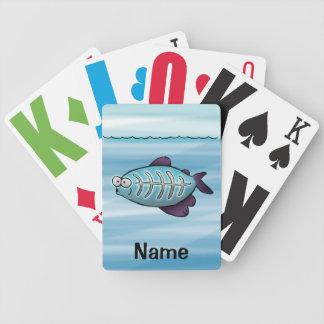 Naipes, dibujo animado lindo de los pescados de la baraja de cartas bicycle