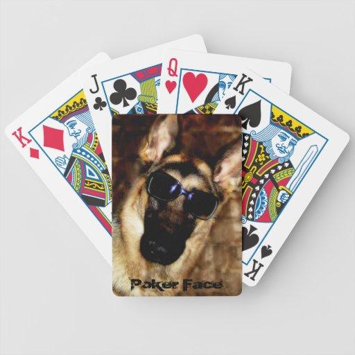 Naipes divertidos de la foto del perro de pastor a baraja