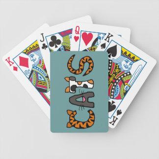 Naipes divertidos de las letras de los gatos CV Baraja Cartas De Poker