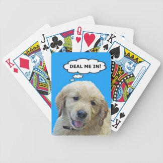 Naipes divertidos del perrito del golden retriever baraja de cartas