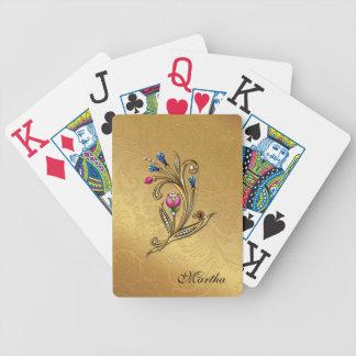 Naipes dorados de encargo elegantes barajas de cartas