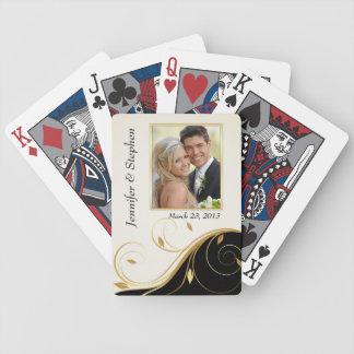 Naipes elegantes de la foto del boda del negro del baraja de cartas