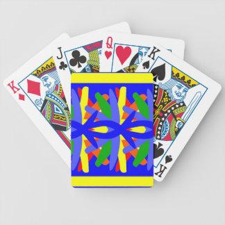 Naipes en azul y amarillo cartas de juego