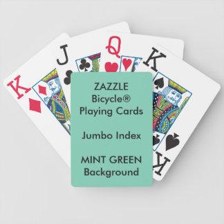 Naipes enormes de encargo VERDES del índice de Baraja Cartas De Poker