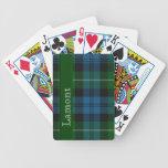Naipes escoceses azules y verdes de la tela escoce barajas de cartas