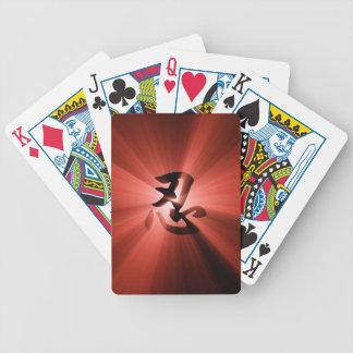 Naipes estallados estrella roja del kanji de NIN Baraja Cartas De Poker
