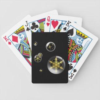 Naipes festivos del ornamento del navidad del oro barajas de cartas