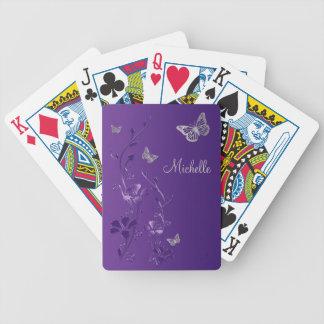 Naipes florales de la mariposa de plata púrpura baraja cartas de poker