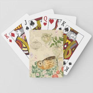 Naipes florales del búho del vintage con color de barajas de cartas