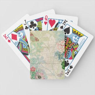 Naipes florales del collage del vintage barajas de cartas