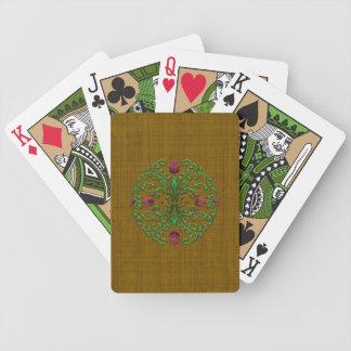 Naipes florales del medallón baraja cartas de poker