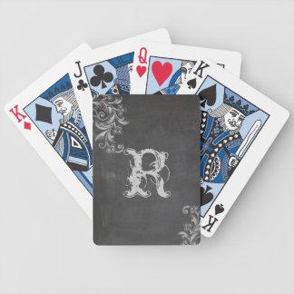 Naipes florales del monograma de la pizarra barajas de cartas