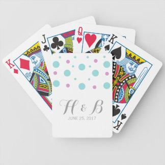 Naipes fucsias del confeti de la turquesa barajas de cartas