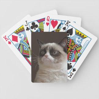 Naipes gruñones del gato cartas de juego