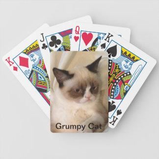 Naipes gruñones del gato barajas de cartas