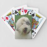 Naipes ingleses viejos del perro del perro pastor barajas de cartas