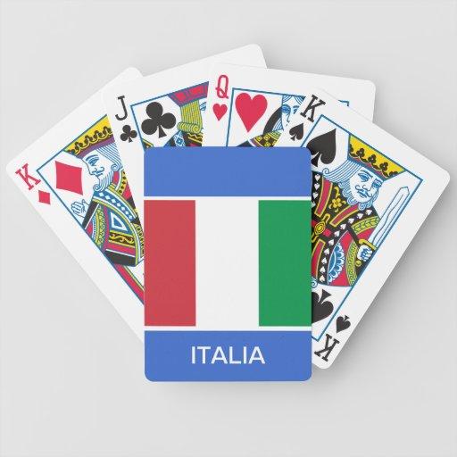 Naipes italianos de la bandera cartas de juego