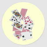 Naipes - juego a ganar - encantos afortunados pegatina redonda