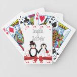 Naipes lindos del boda de los pares del pingüino baraja de cartas
