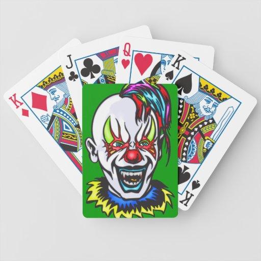 Naipes malvados del payaso baraja de cartas