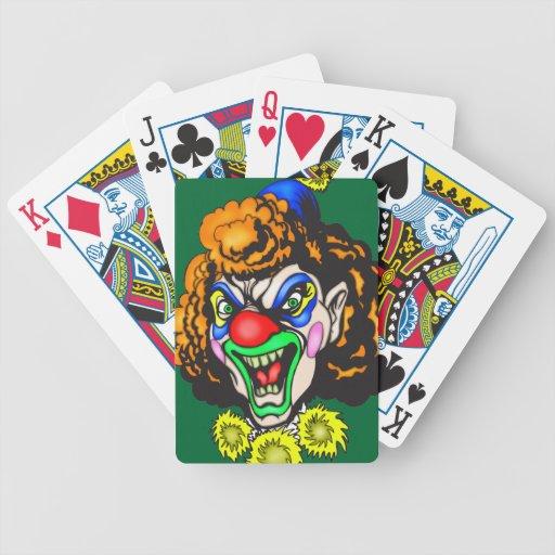 Naipes malvados del payaso barajas de cartas