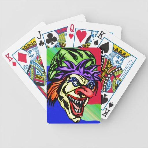 Naipes malvados del payaso de circo baraja de cartas