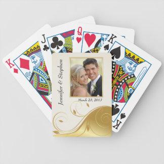 Naipes modernos de la foto del boda del oro barajas de cartas