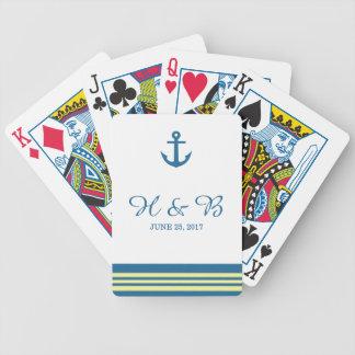 Naipes náuticos amarillos azules del ancla barajas de cartas