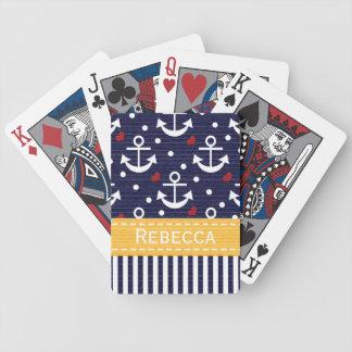 Naipes náuticos de Bicycle® del ancla amarilla Baraja Cartas De Poker