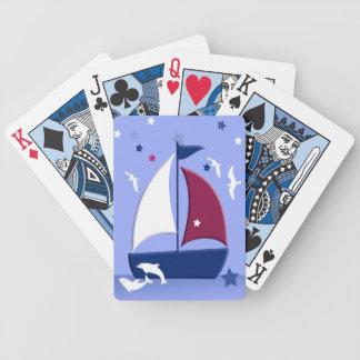 Naipes náuticos del pequeño marinero del velero baraja de cartas