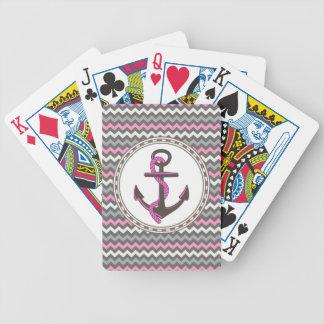 Naipes náuticos del zigzag del ancla del monograma barajas de cartas