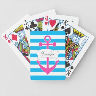 Naipes náuticos personalizados moda del ancla barajas de cartas