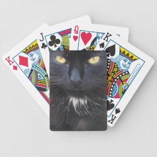 Naipes negros del gatito baraja de cartas