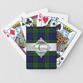 Naipes negros del monograma de la tela escocesa de baraja de cartas