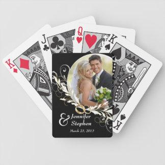 Naipes negros y blancos del vintage del boda de la cartas de juego