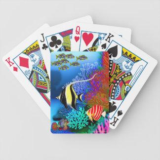 Naipes pacíficos de los pescados del arrecife de baraja cartas de poker