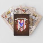 Naipes patrióticos del escudo de la bandera americ cartas de juego