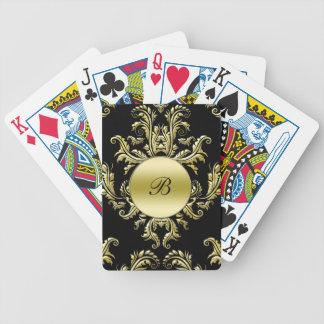 Naipes personalizados damasco del monograma barajas de cartas