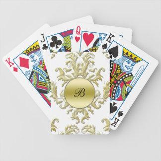 Naipes personalizados damasco del monograma cartas de juego