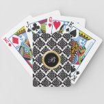 Naipes personalizados damasco del monograma baraja de cartas