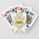 Naipes personalizados damasco del monograma baraja cartas de poker