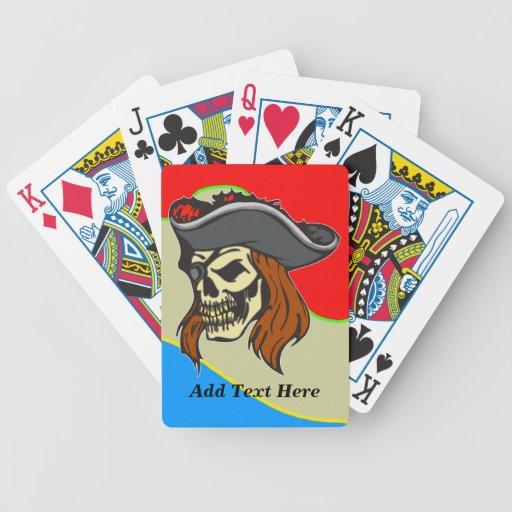 Naipes personalizados del cráneo del pirata cartas de juego