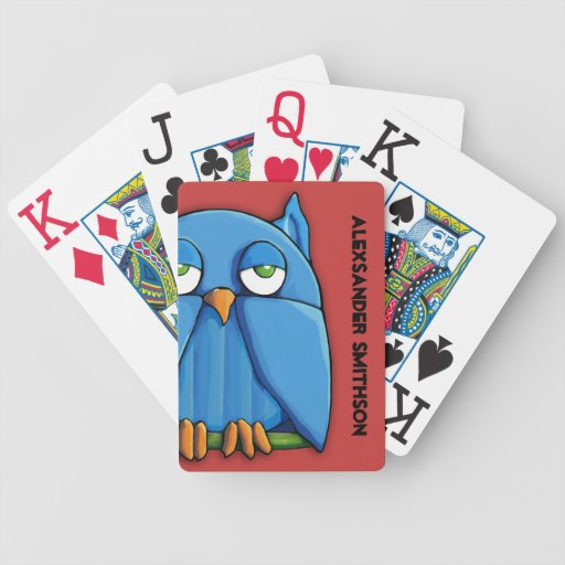 Naipes personalizados rojo de Bicycle® del búho de Baraja Cartas De Poker